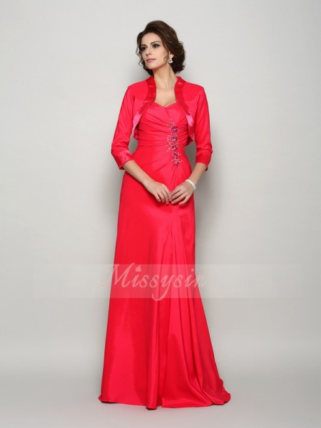 Sleeveless Straps Elastic Woven Satin Sweep/Brush Train Red Mother of the Bride Dresses