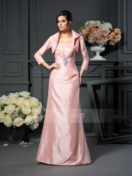 Sleeveless Strapless Taffeta Long Pearl Pink Mother of the Bride Dresses