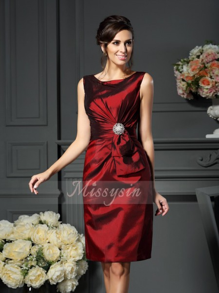 Sleeveless Scoop Taffeta Knee-Length Burgundy Mother of the Bride Dresses