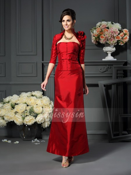 Sleeveless Strapless Taffeta Ankle-Length Red Mother of the Bride Dresses