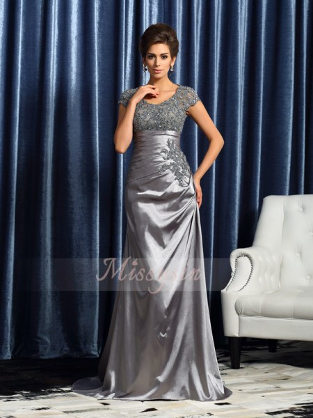 Short Sleeves Scoop Taffeta Sweep/Brush Train Silver Mother of the Bride Dresses