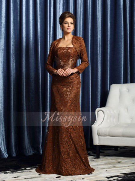 Sleeveless Strapless Silk like Satin Court Train Chocolate Mother of the Bride Dresses