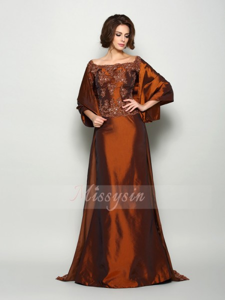 1/2 Sleeves Off-the-Shoulder Taffeta Sweep/Brush Train Chocolate Mother of the Bride Dresses