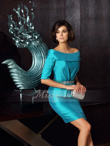 1/2 Sleeves Off-the-Shoulder Taffeta Knee-Length Blue Mother of the Bride Dresses
