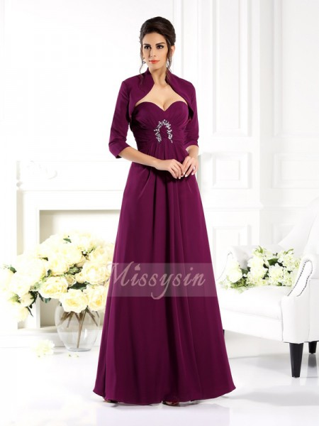 Sleeveless Sweetheart Chiffon Long Grape Mother of the Bride Dresses