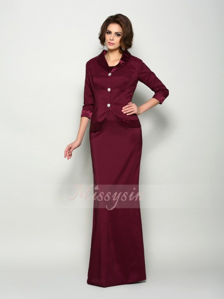 Sleeveless Square Elastic Woven Satin Long Burgundy Mother of the Bride Dresses