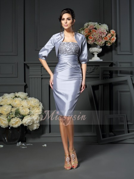Sleeveless Sweetheart Taffeta Knee-Length Silver Mother of the Bride Dresses