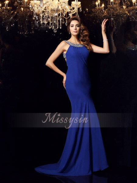 Sleeveless Scoop Chiffon Sweep/Brush Train Royal Blue Dresses