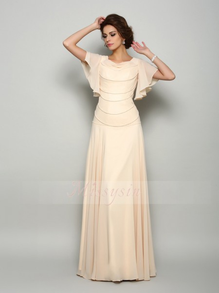 Short Sleeves Square Chiffon Long Champagne Mother of the Bride Dresses