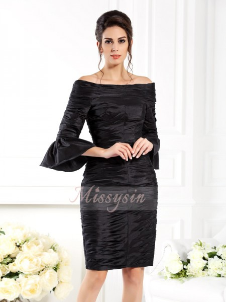 1/2 Sleeves Off-the-Shoulder Taffeta Short/Mini Black Mother of the Bride Dresses