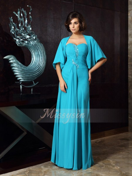 Sleeveless Sweetheart Chiffon Long Green Mother of the Bride Dresses