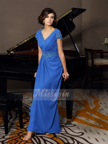 Short Sleeves V-neck Chiffon Long Royal Blue Mother of the Bride Dresses