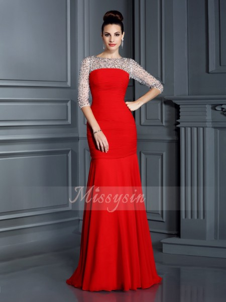 3/4 Sleeves Scoop Chiffon Long Red Dresses