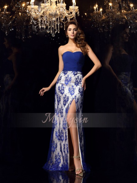 Sleeveless Sweetheart Elastic Woven Satin Long Royal Blue Dresses
