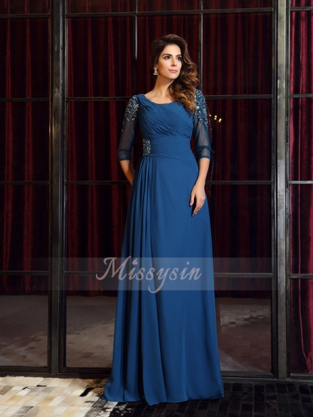 1/2 Sleeves Square Chiffon Long Royal Blue Dresses