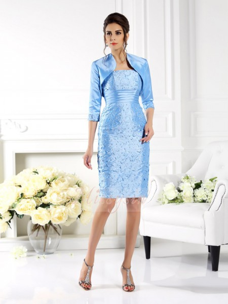Sleeveless Straps Taffeta Knee-Length Light Sky Blue Mother of the Bride Dresses