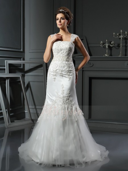 Trumpet/Mermaid Sleeveless Straps Court Train Ivory Wedding Dress