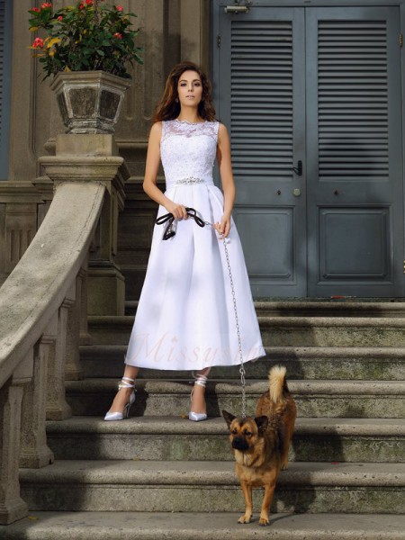 A-Line/Princess Sleeveless Bateau Ankle-Length White Wedding Dress