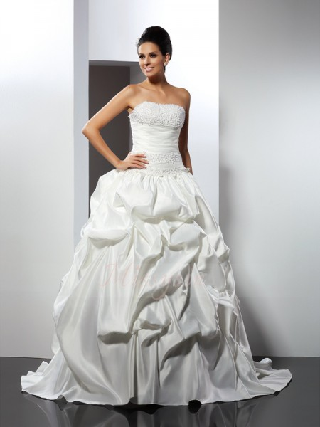 Ball Gown Sleeveless Strapless Cathedral Train Ivory Wedding Dress