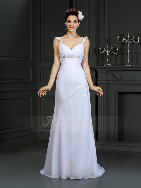 Trumpet/Mermaid Sleeveless Straps Court Train White Wedding Dress