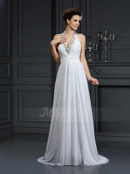 A-Line/Princess Sleeveless Halter Court Train Ivory Wedding Dress