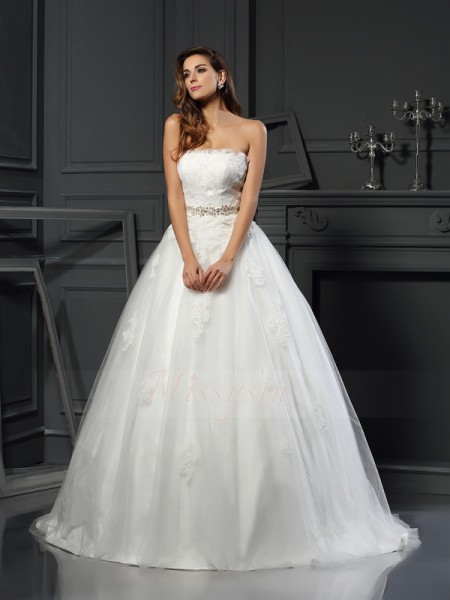Ball Gown Sleeveless Strapless Court Train Ivory Wedding Dress