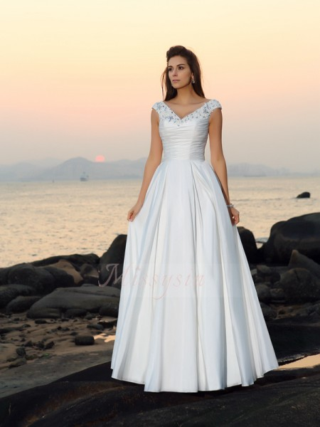 A-Line/Princess Sleeveless V-neck Long Ivory Wedding Dress