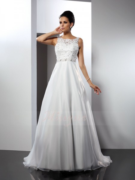 A-Line/Princess Sleeveless Scoop Chapel Train White Wedding Dress