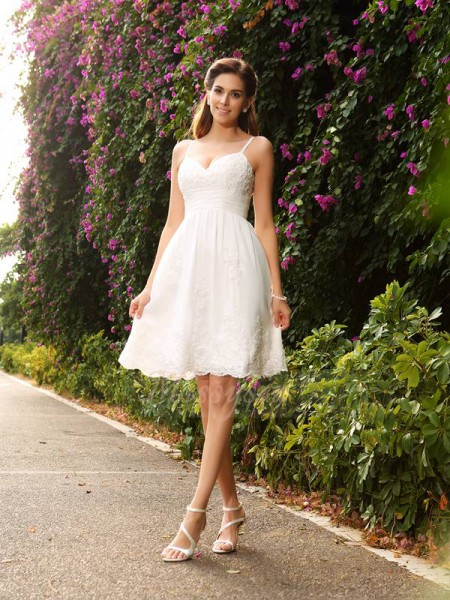 A-Line/Princess Sleeveless Spaghetti Straps Knee-Length Ivory Wedding Dress
