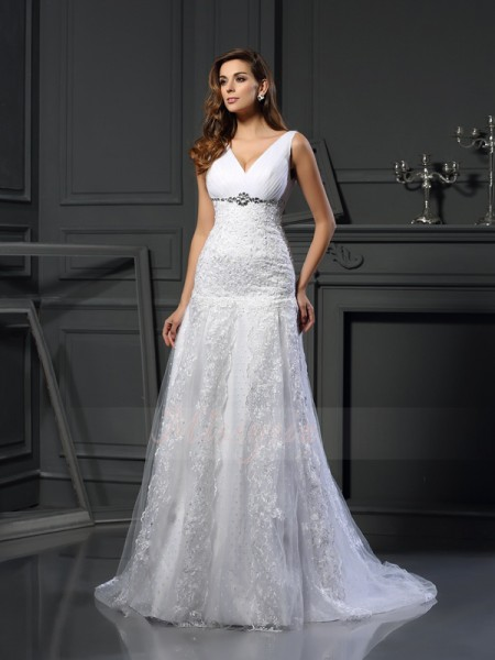 A-Line/Princess Sleeveless V-neck Chapel Train White Wedding Dress