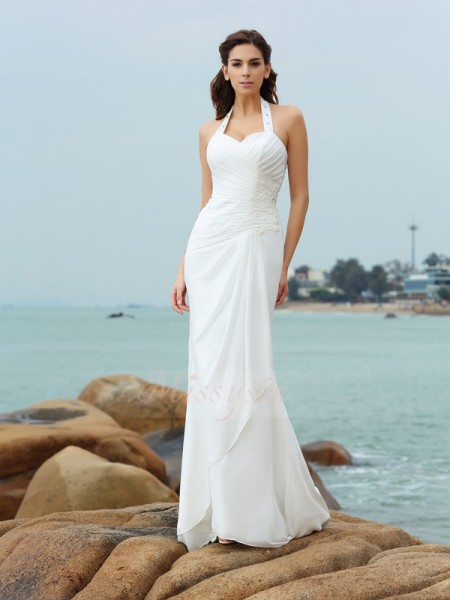 Sheath/Column Sleeveless Halter Court Train White Wedding Dress