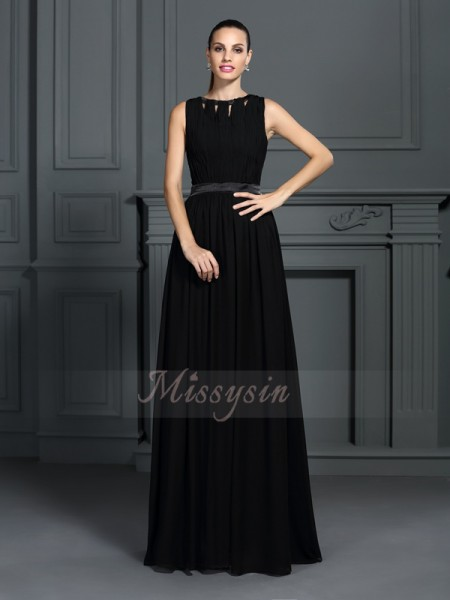 A-Line/Princess Sleeveless Scoop Long Black Dress