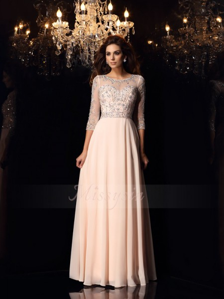 A-Line/Princess 3/4 Sleeves Scoop Long Pearl Pink Dress