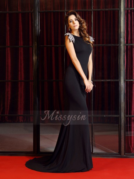 Trumpet/Mermaid Sleeveless Bateau Court Train Black Dress