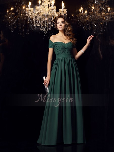 A-Line/Princess Sleeveless Off-the-Shoulder Long Dark Green Dress