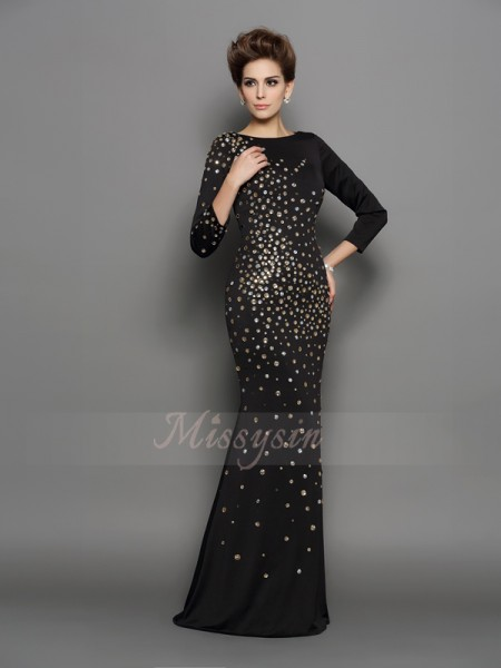 Trumpet/Mermaid Long Sleeves Scoop Long Black Dress