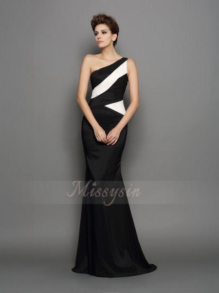 Trumpet/Mermaid Sleeveless One-Shoulder Sweep/Brush Train Black Dress