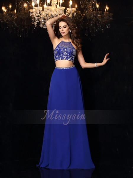 A-Line/Princess Sleeveless High Neck Sweep/Brush Train Royal Blue Dress