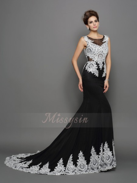 Trumpet/Mermaid Sleeveless Scoop Chapel Train Black Dress