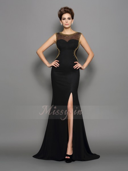 Sheath/Column Sleeveless Scoop Sweep/Brush Train Black Dress