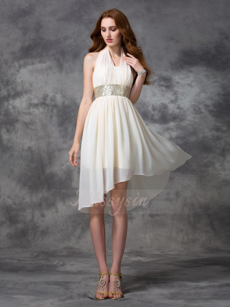 A-line/Princess Sleeveless Halter Asymmetrical Ivory Dresses