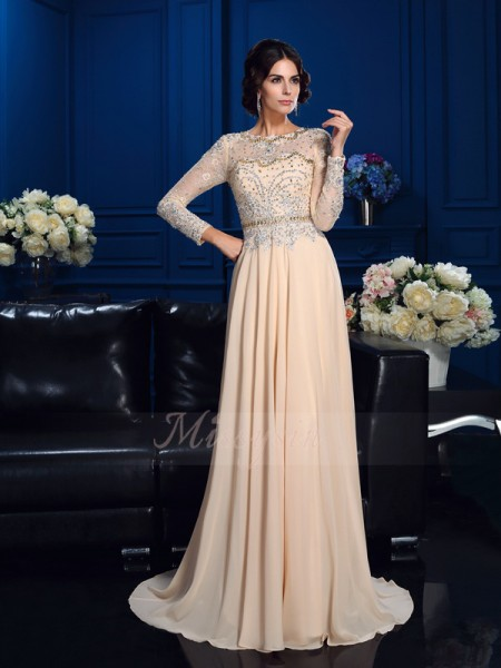 A-Line/Princess Long Sleeves Scoop Sweep/Brush Train Champagne Mother of the Bride Dresses