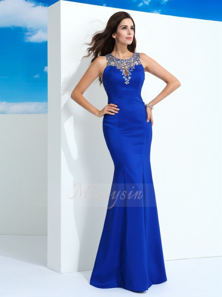 Sheath/Column Sleeveless Sheer Neck Long Royal Blue Dresses