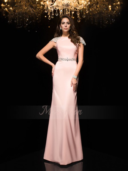 Sheath/Column Short Sleeves Jewel Long Pink Dresses