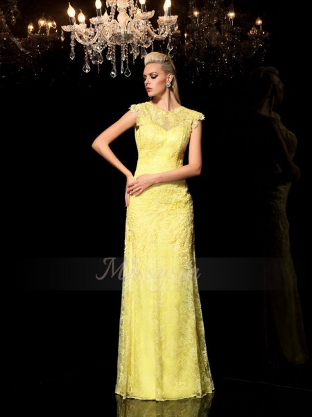 Sheath/Column Sleeveless Sheer Neck Long Yellow Dresses