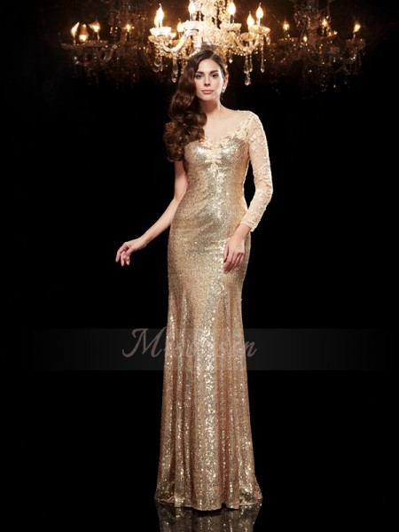 Trumpet/Mermaid 3/4 Sleeves Scoop Long Gold dresses