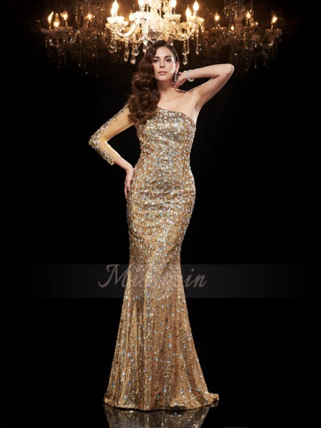 Trumpet/Mermaid 3/4 Sleeves One-Shoulder Long Gold dresses
