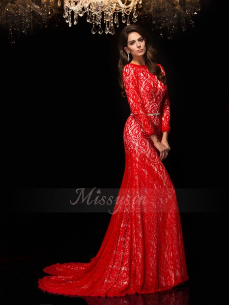 Sheath/Column 3/4 Sleeves Bateau Sweep/Brush Train Red Dresses