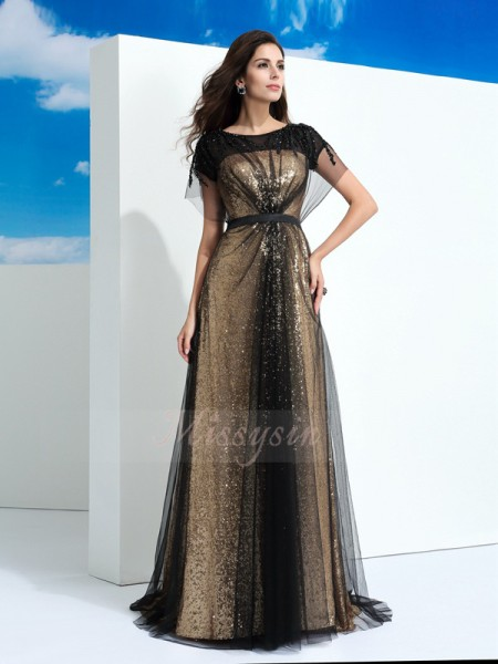A-Line/Princess Short Sleeves Sheer Neck Long Black Dresses