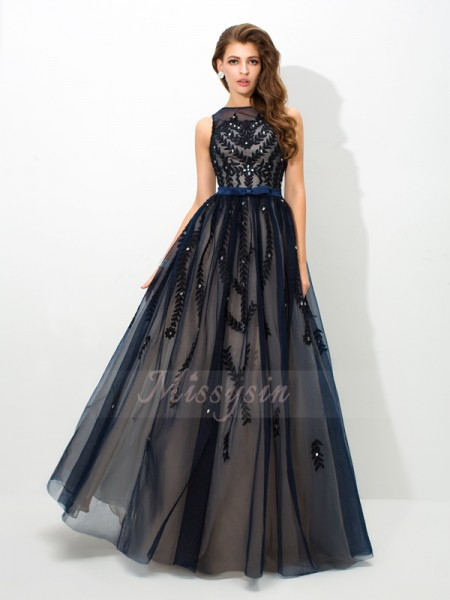 A-Line/Princess Sleeveless Sheer Neck Long Dark Navy Dresses
